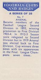 1958 Football Clubs and Badges #7 Arsenal Back