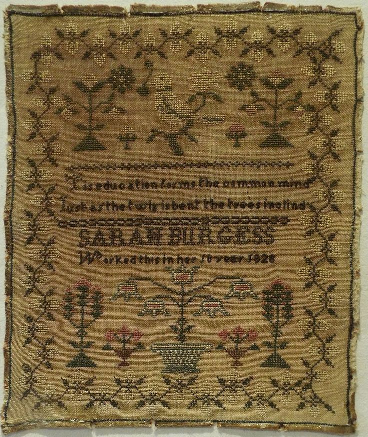 EARLY 19TH CENTURY BIRD & FLORAL MOTIF SAMPLER BY SARAH BURGESS AGED 10 - 1828