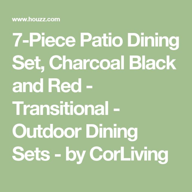 7-Piece Patio Dining Set, Charcoal Black and Red - Transitional - Outdoor Dining Sets - by CorLiving