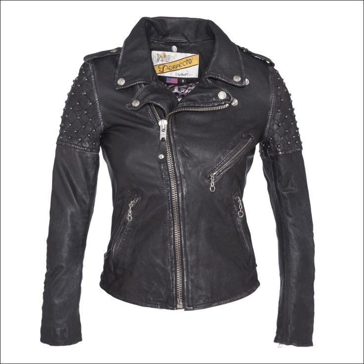 Γυναικείο δερμάτινο μπουφάν SCHOTT N.Y.C. Μοντέλο: Perfecto Leather Jacket  Spikes Δέρμα: black nappa Τιμή: 427€