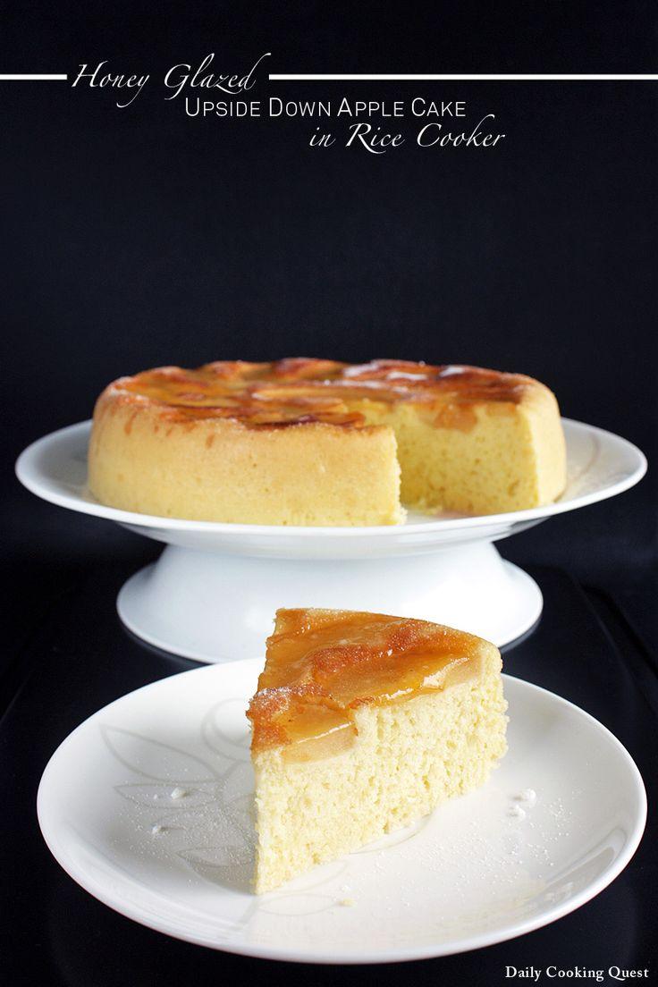 Honey Glazed Upside Down Apple Cake in Rice Cooker