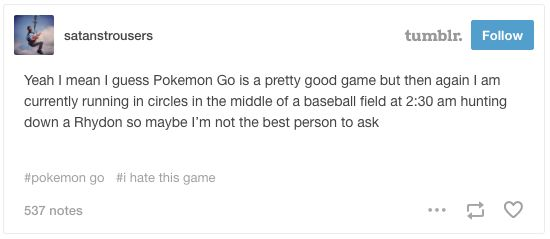 When they lost perspective.   21 Of The Funniest Tumblr Responses To Pokémon Go