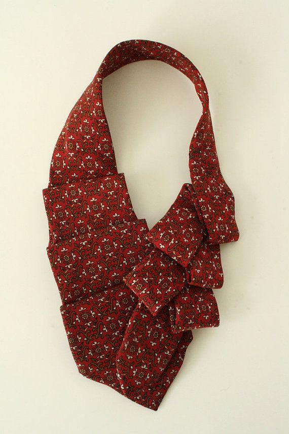 Womens Collar Ascot Upcycled Neck Tie Brick by OgsploshAccessories, $40.00