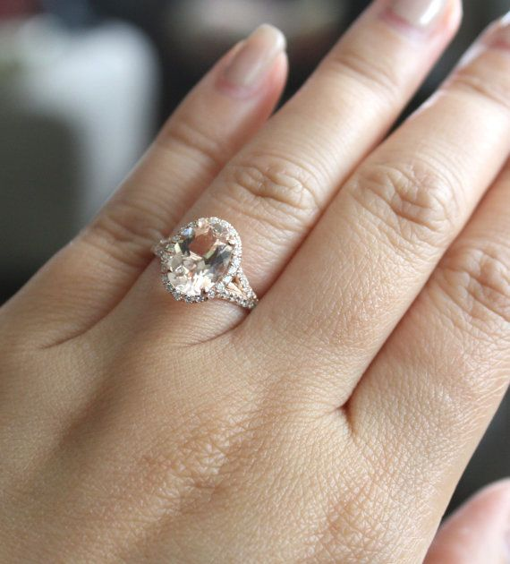 Oval Morganite Split Shank Diamond Engagement Ring by Studio1040