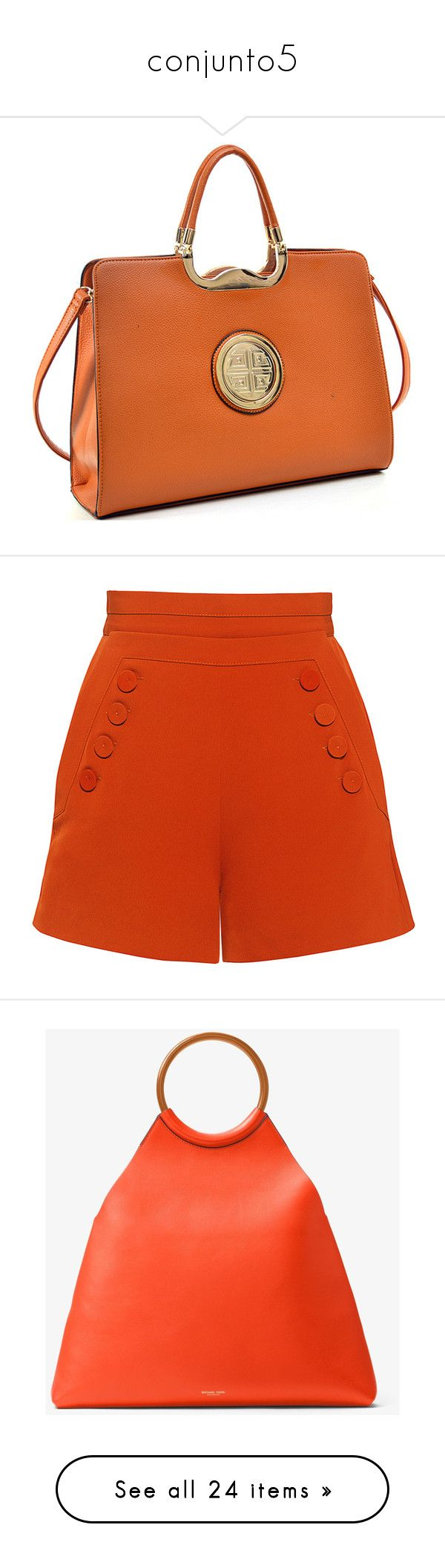 """conjunto5"" by lauracabrera-2 ❤ liked on Polyvore featuring bags, briefcases, orange, shorts, bottoms, pants, short, high-rise shorts, high waisted short shorts and high-waisted shorts"
