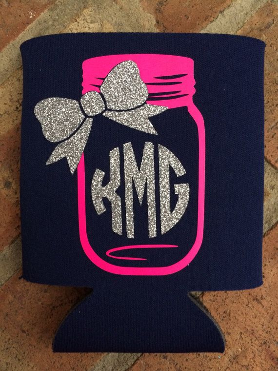 Mason Jar Decal Monogram Koozie by SOSgifts on Etsy