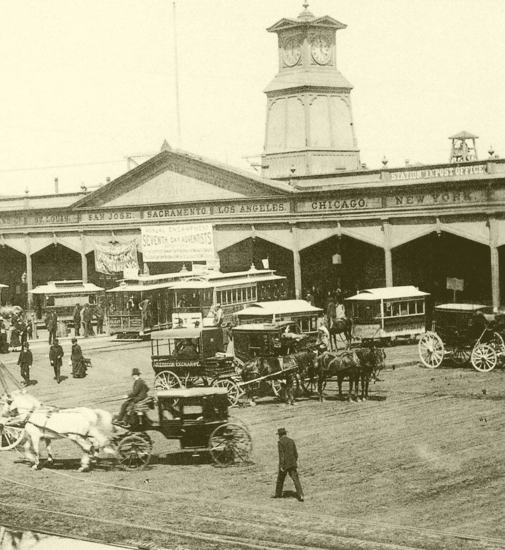 The San Francisco Terminus of the Central Pacific Railroad in 1878. This was the new Ferry Building, completed in 1875. In addition to transcontinental passengers, thousands of workers commuted to San Francisco. From 1873 to 1877 the number of passengers increased from 2,655,671 to 5,570,555.