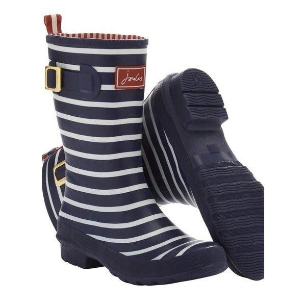 Joules Molly Welly Navy Stripe Ladies Rain Boots ($61) ❤ liked on Polyvore featuring shoes, boots, navy knee high boots, navy blue rain boots, wellington boots, striped boots and joules boots