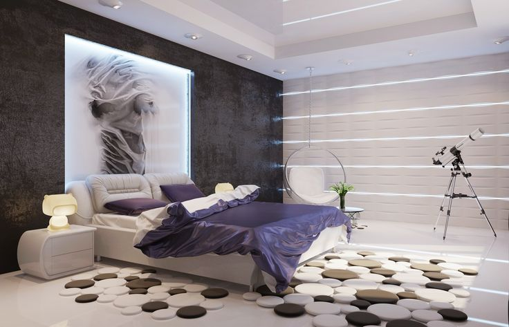 5 Stylish Bedroom Designs For Your Comfort  - Bedroom is the last room in your household that you might think about decorating or re-arranging because no one else sees it except you, and even you... -  white-bedroom-teenager-bedroom-designs-texture-contemporary-purple-white-black-bedroom .