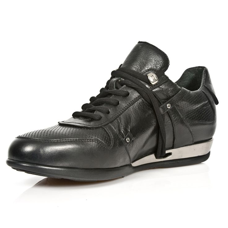 Black Leather Hybrid Dress  Sneakers from New Rock Shoes. Lacing up the front, Metal on the heels. Available in all Unisex Sizes. This Pair is in Stock and ships out within a week of purchase.  NOW ONLY $199.99 w Shipping Included!  http://www.newrockbootsusa.com/Black-Leather-Hybrid-Dress-Shoes_p_2432.html