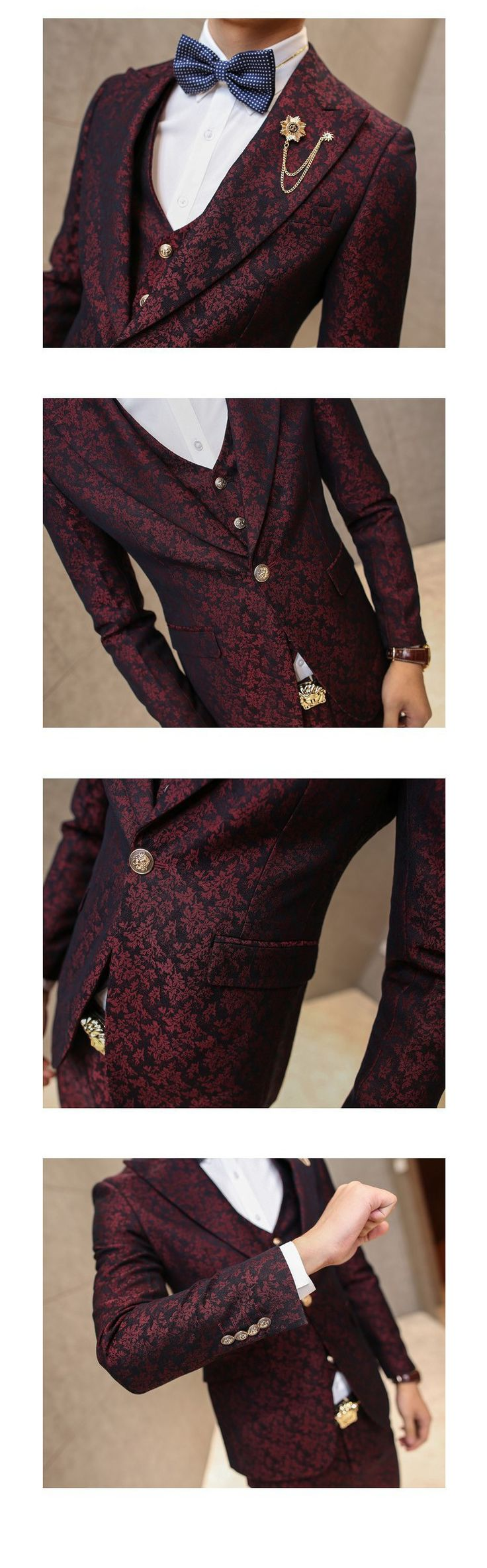 MAUCHLEY Prom Mens Suit With Pants Burgundy Floral Jacquard Wedding Suits for Men Slim Fit 3 Pieces / Set (Jacket+Vest+Pants) | We Global Trade
