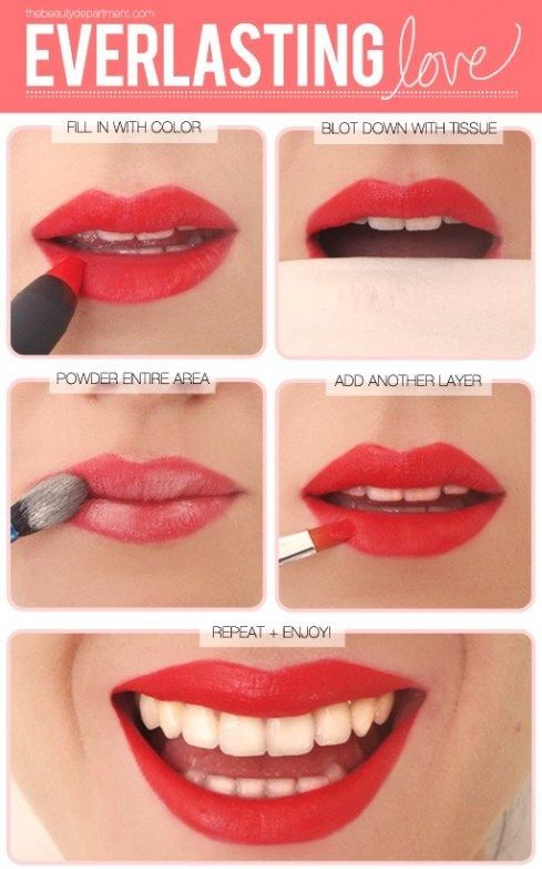 Applying lipstick: