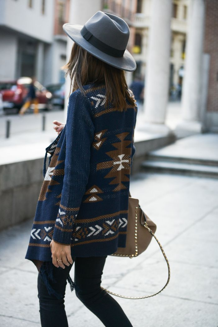 Lovely Pepa - Tribal Print Cardigan Sweater + Valentino Bag + Hat http://FashionCognoscente.blogspot.com