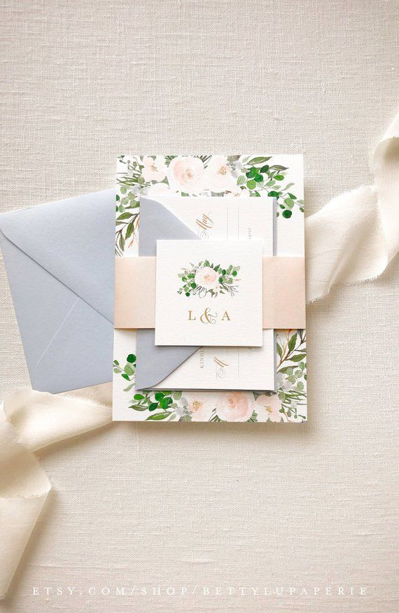 Blush Watercolor Wedding Invitation Suite Floral Best Day Ever