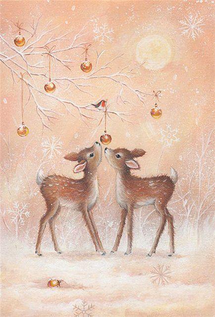 Christmas fawns - greeting card, reindeer, deer