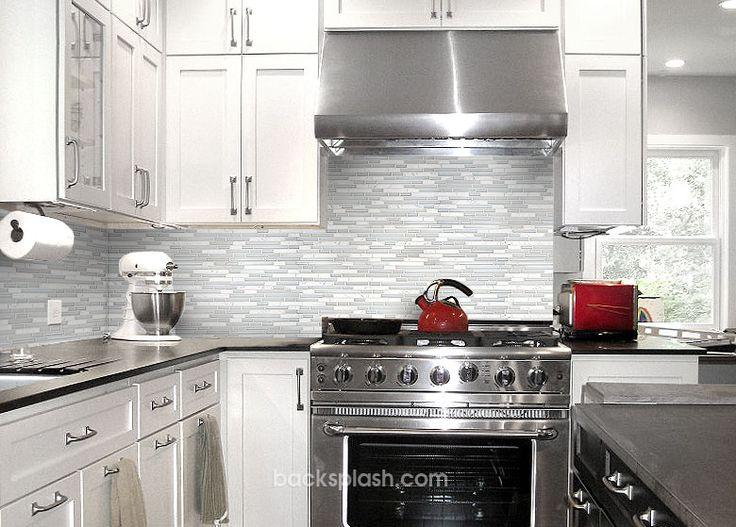 White Marble Glass Backsplash Tile Black Countertop White Cabinet