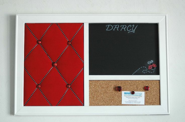 Ladybug Red French Memo Board,  Corkboard, & Chalkboard  Wall Organizer by KaiHinaCoastal on Etsy https://www.etsy.com/listing/182964852/ladybug-red-french-memo-board-corkboard