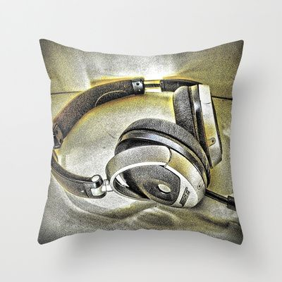 Headphones III Throw Pillow by AngelEowyn. $20.00