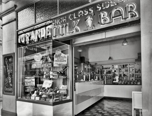 Milk bar at the Opera House, Manners Street, Wellington - circa 1935 | Photo by Gordon Burt