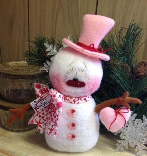 "Primitive HC Valentines Day Doll Snowman Snow Snowflake 8.5"" PINK Super Cute! #IsntThatCute #Christmas"