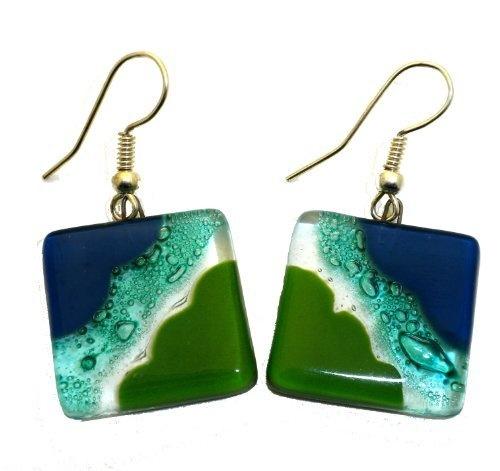 Ocean River Meadow Fused Glass Earrings Global