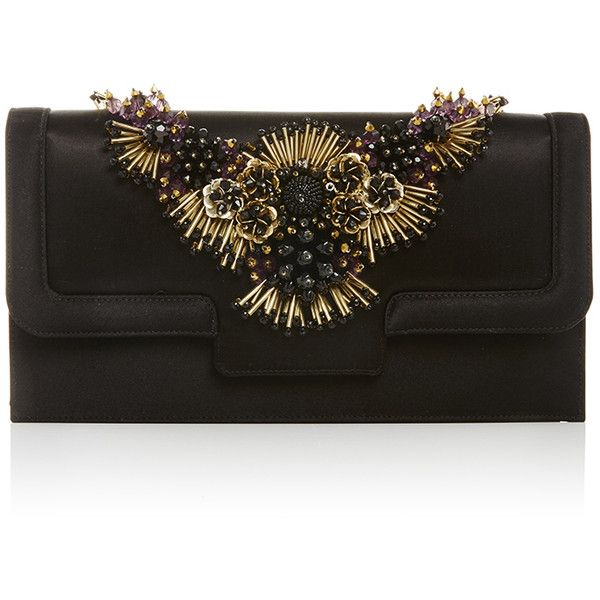 Oscar de la Renta Black Satin Day to Evening Clutch ($1,890) ❤ liked on Polyvore featuring bags, handbags, clutches, satin purse, special occasion handbags, black clutches, black handbags and black satin handbag