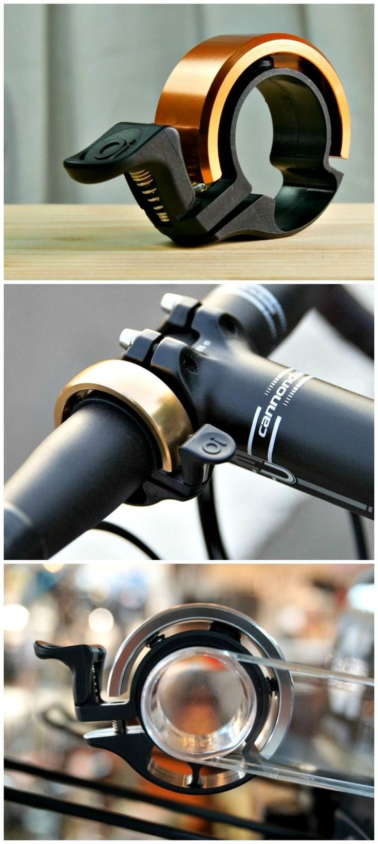 Love these low profile bike bells! Many brands on Amazon selling cheap and well-reviewed in an array of color options.
