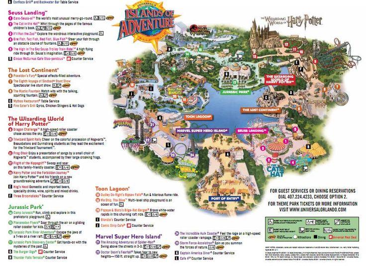 Islands of Adventure Orlando 2012 Map