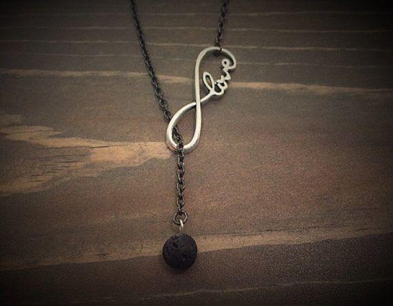 "Lava Stone Infinity ""Love"" Essential Oil Diffuser Necklace.  Diffuser Jewelry…"