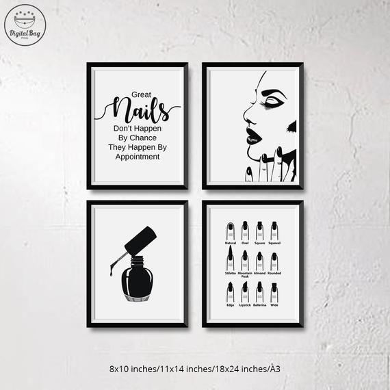 Set di nail art per download immediato, Decorazioni per salone di bellezza, Set di 4 nail art per pareti, Nai …