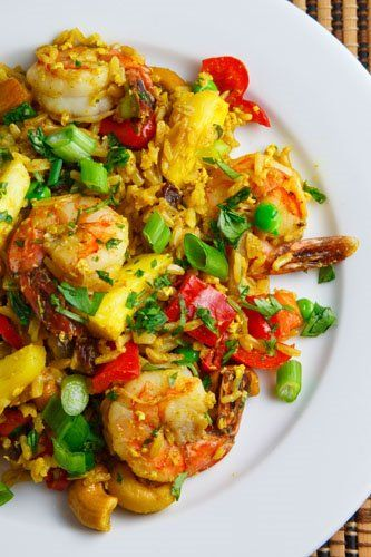 Thai Pineapple Fried Rice. I substitute vegetable stock for chicken stock for pescaterians.