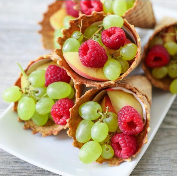 Use ice cream cones to make fruit cornucopias.