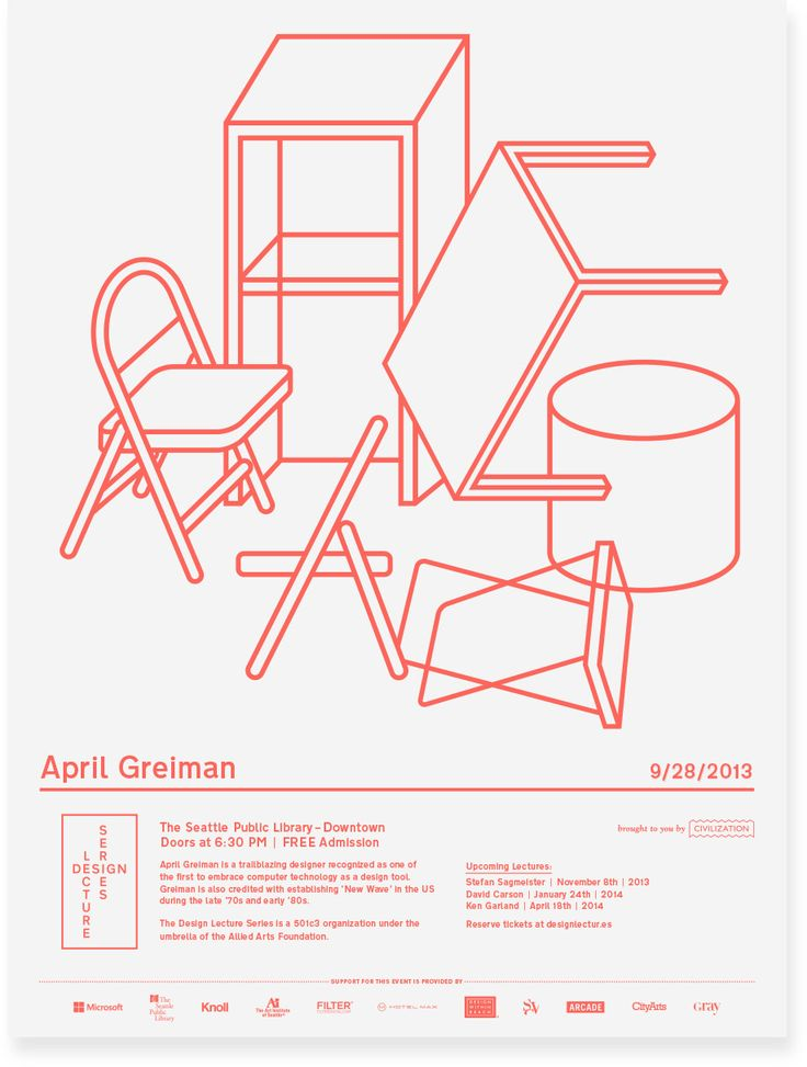 Design Lecture Series poster for April Greiman lecture season 1 by Seattle design firm Civilization