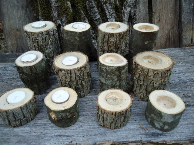 Tree Branch Candle Holders Rustic Wedding by ChurchHouseWoodworks, $36.95