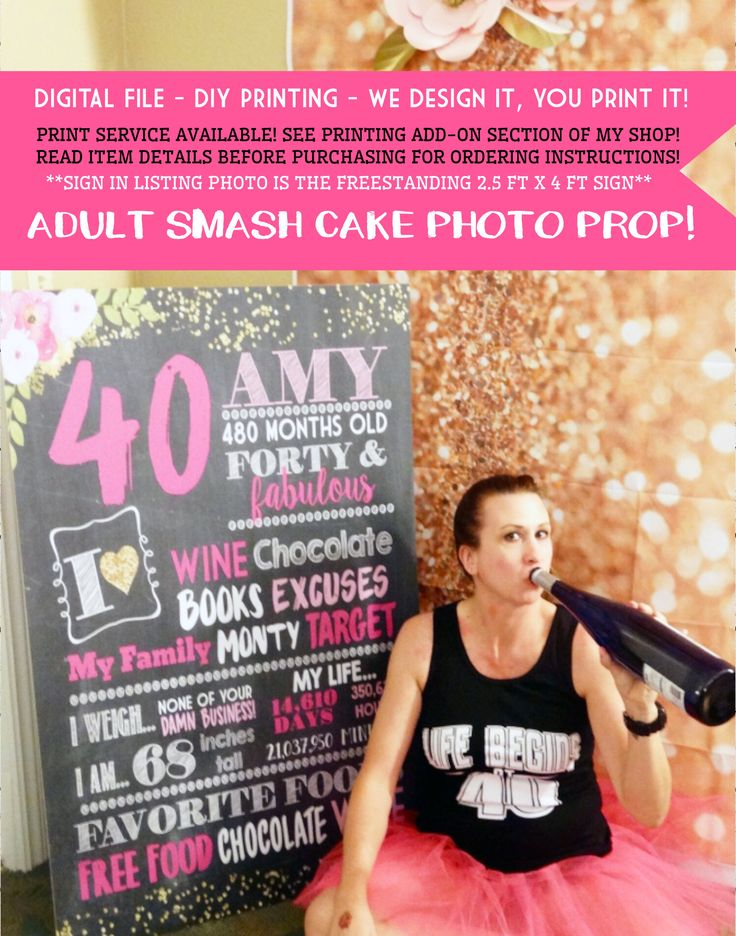 Adult smash cake Photo prop - Any Age!  Funny Birthday Personalized Chalkboard Sign -digital file-Forty and Fabulous - (Chalk-AdultFloral) by EmmaSueBowtique on Etsy