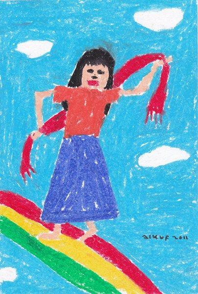 boy alkaf, menari di atas pelangi,190 x 280 mm, crayon on paper, 2011