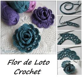Patrones para Crochet: Flor de Loto. Tutorial Crochet