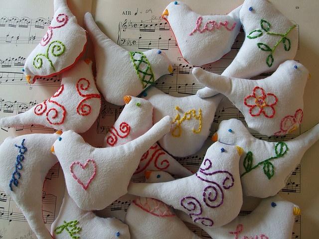 filigree embroidered doves