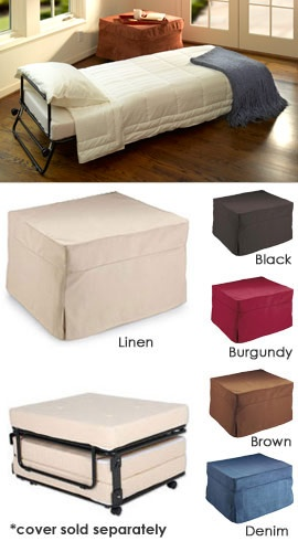 Fold-Out Ottoman Bed Hide a guest bed in plain sight! Ottoman by day...bed by night.  http://www.solutions.com/jump.jsp?itemID=14963=PRODUCT=1%2C2%2C11586%2C11594=14963#BVReviewsContainer