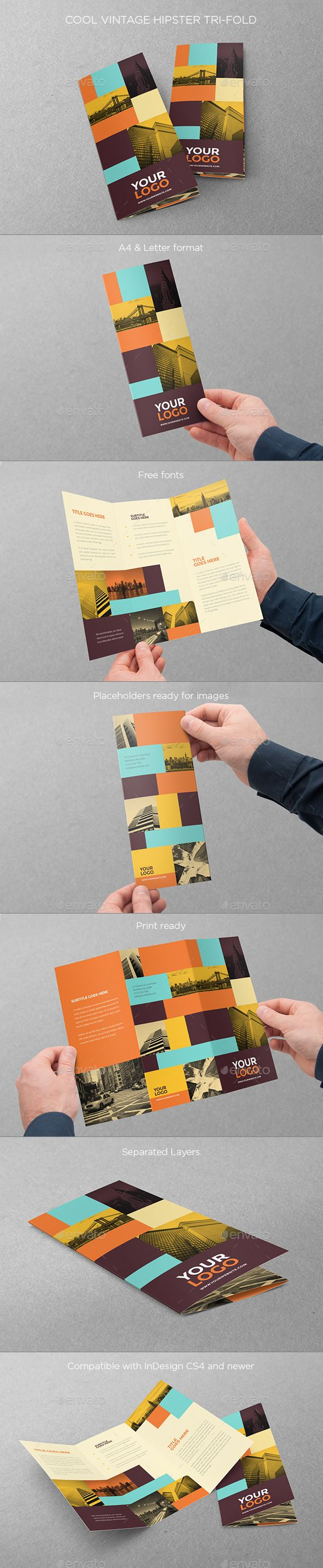 Cool Vintage Hipster Trifold (CS4, 8.5x11, a4, brochure, business, clean, colorful, cool, flexible, hipster, letter, minimal, modern, print, professional, retro, simple, trifold, vintage)
