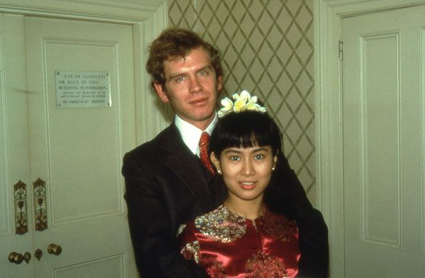 New Year's Day 1972, Chelsea registry office in London. Aung San Suu Kyi and Michael Aris marry, aged 26 and 25 respectively
