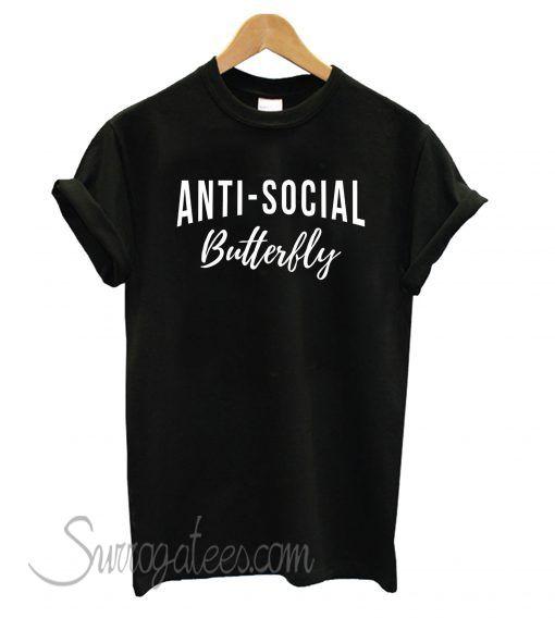 802d76cb Anti-Social Butterfly Black matching T shirt | Famous T-Shirt In ...
