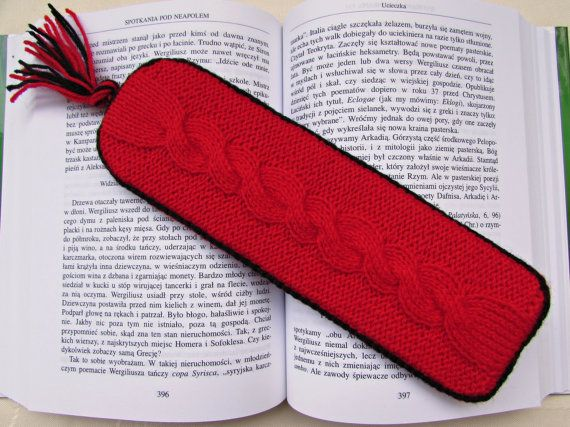 Unique Bookmark Red Bookmark Knitted Cardboard by MyRainbowColors