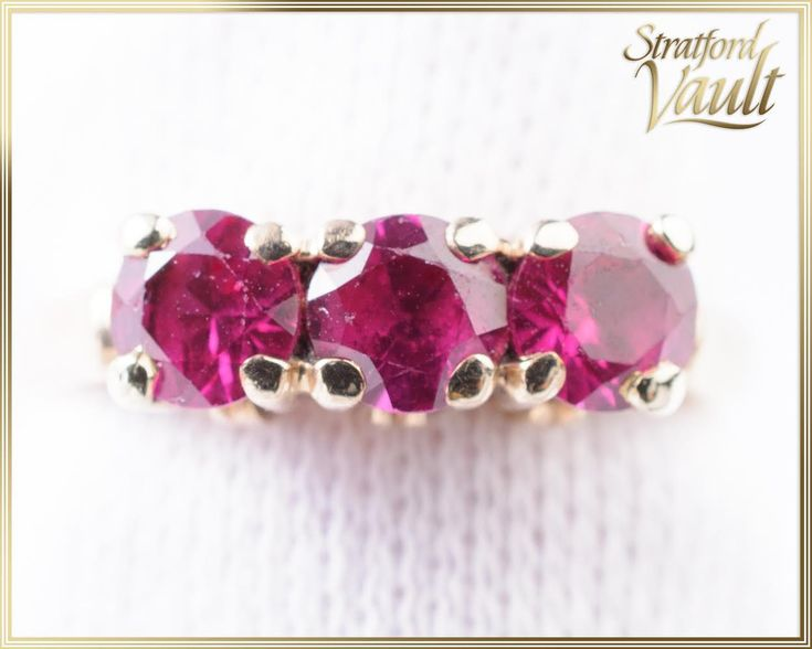 Vintage ~ Genuine Ruby Anniversary PPF Ring or Right Hand Ring ~ 10K Yellow Gold ~ 1.05 ctw Genuine Round Faceted 4.0 mm Rubies ~ STR15079 by StratfordVault on Etsy