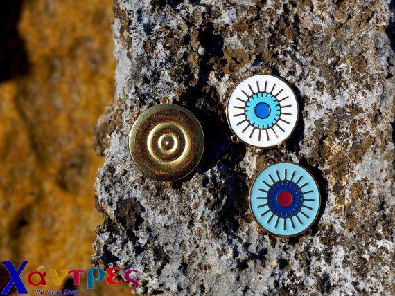Evil eye conectorsearrings suppliesenamel evil by GreekBeadShop