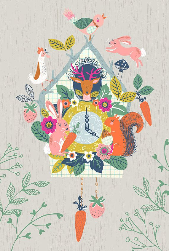 Cuckoo Clock - Giclee Print of an Original - Deer, Rabbit, Bird, Squirrel, Bunny, Rooster, and Bird with Flowers, Carrots, and Strawberries by #DrawnByRebeccaJones, $25.00 #CuckooClock:
