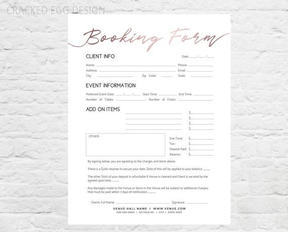 Wedding venue booking form professional form photoshop for For planner