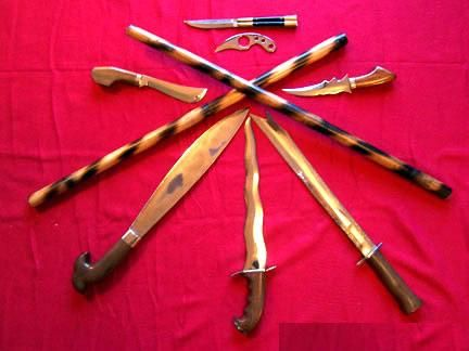 A sample of weapons used in Filipino Martial Arts