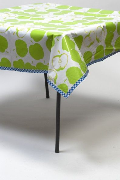 48 X 84 Oilcloth Tablecloth Mod Apple Green With Gingham Blue Trim