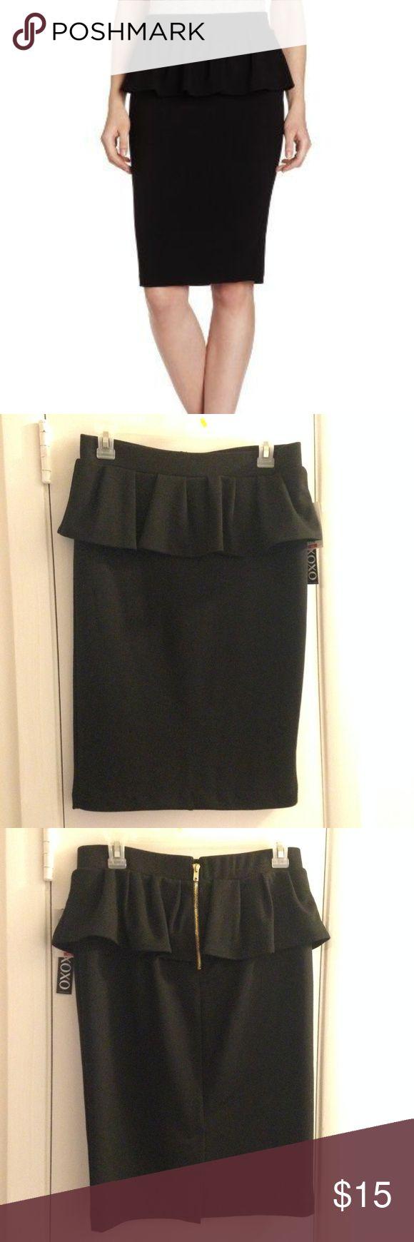 XOXO Peplum Skirt Classic Black peplum skirt Never work, new with tags XOXO Skirts Midi